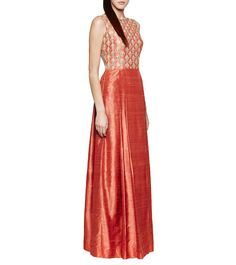 Gota Patti Raw Silk Gown