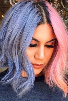 17 Stunning Hair Colours You Will Want To Try This Summer - ~hair~ - Hair Designs Half Dyed Hair, Split Dyed Hair, Dye My Hair, Half And Half Hair, Two Color Hair, Beautiful Hair Color, Cool Hair Color, Bright Hair Colors, Hair Dye Colors