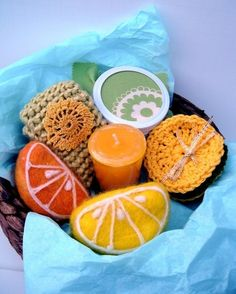 Orange and Lemon slices felted soap