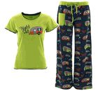 "These Lazy One brand pajamas are 100% cotton, machine washable, and ultra comfortable. The Juniors blue pajama pant bottoms are straight legged and fitted through the hips and thighs. The humorous print design has different styles of camp trailers, parked under the starry skies, with the words ""Night Out"". The pants have an elastic waistband, green cell phone pocket at the right hip, and an adjustable drawstring at the waist with green trim. The Junior size top has a round neckline with a…"