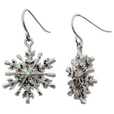 Kim Rogers Silver Silver-Tone Snowflake Drop Earrings (34 RON) ❤ liked on Polyvore featuring jewelry, earrings, silver, silver jewellery, silver drop earrings, drop earrings, silver tone jewelry and silver snowflake earrings