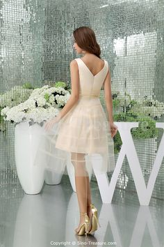 Champagne Tea-Length Fine-Netting V-neck A-line Bridesmaid Dress, like this but in a different color