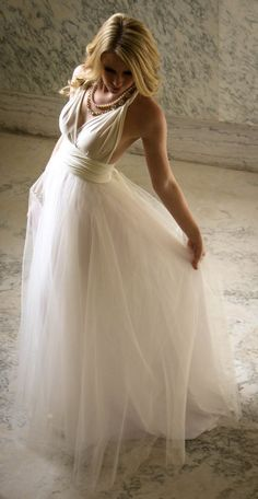 Royal Tulle Ballgown Infinity Wedding Dress Ivory by MJVOCouture, $448.00 #weddingdress