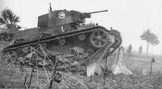 Polish light tank testing Czechoslovak anti-tank obstacles in Zaolzie.