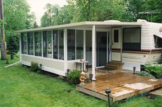 Do-It-Yourself Sunroom Kits: Economical, Durable and Prefab walls. Excellent way to cover your patio for extra living space. Get your sample today. Porch For Camper, Prefab Walls, Trailer Deck, Trailer Kits, Bell Tent Camping, Camping Glamping, Sunroom Kits, Travel Trailer Living, Add A Room