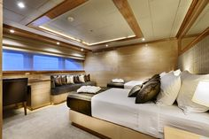 """The guest bedrooms onboard the incredible private superyacht """"Zenith"""". Designed by ID Studios Pyrmont"""