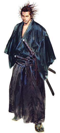 Miyamoto Musashi (宮本武蔵) is one of the main protagonists in Vagabond, and a historical figure. Ronin Samurai, Samurai Art, Samurai Warrior, Samurai Anime, Vagabond Manga, Art Anime, Manga Art, Manhwa, Character Concept