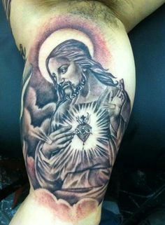 What does jesus tattoo mean? We have jesus tattoo ideas, designs, symbolism and we explain the meaning behind the tattoo. Jesus Tattoo, Tattoos With Meaning, Portrait, Design, Ideas, Meaning Tattoos, Symbolic Tattoos, Headshot Photography