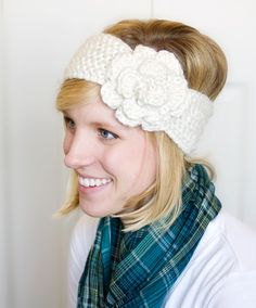 Ear Warmer with Large Flower  Cream  ADULT size by beeziebee, $18.00- Oh I LOVE this!!