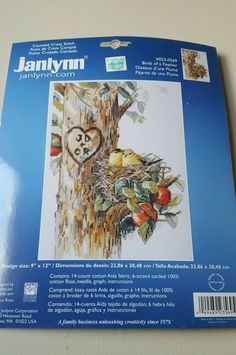 NEW Janlynn Counted Cross Stitch Kit # 023-0569 BIRDS OF A FEATHER Hearts, Craft #Janlynn #CountedCrossStitchKit