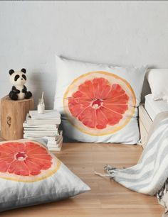 'Grapefruit Slice' Floor Pillow by houseofenigma Duvet, Bedding, Floor Pillows, Throw Pillows, Grapefruit, Cushions, It Is Finished, Blanket, Prints