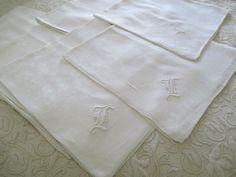 "Set Of Eight Hand Embroidered ""L"" Napkins C:1930"