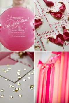 balloon invite; ribbon or fabric streamer garland; hot pink, gold and coral
