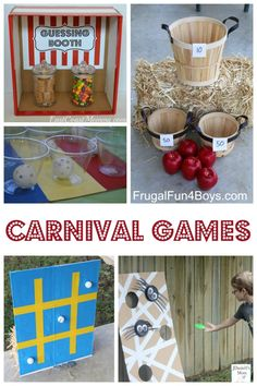Carnival Party Games, Halloween Carnival Games, Carnival Games For Kids, Carnival Birthday Parties, Fun Games For Kids, Kids Party Games, Birthday Party Games, Diy Games, Carnival Diy