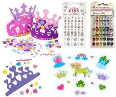 Amazon.com: Make Your Own Princess Tiara For 12 Children, 12 Foam Tiaras, 102 Foam Princess Stickers, 135 Crystal & Colored Stick on Rhinestones, Princess Theme Party Activity Set (Bundle of 3): Toys & Games