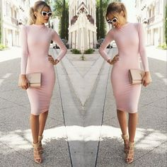 Sexy Women Retro Long Sleeve Bodycon Pencil Dress - O Yours Fashion - 1 Casual Dresses For Women, Sexy Dresses, Cute Dresses, Cute Outfits, Fashion Dresses, Trendy Dresses, Fashion Clothes, Dress Skirt, Dress Up