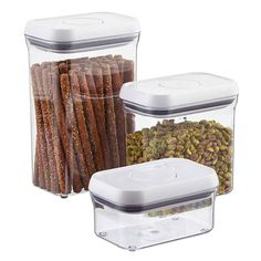 Good Grips® Rectangular POP Canisters They're ideal for preserving the freshness of all your favorite dry food staples.