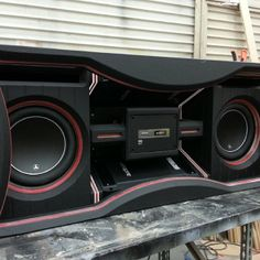 how to led behind plexi - this is in the Escalade. custom enclosure jl audio subs
