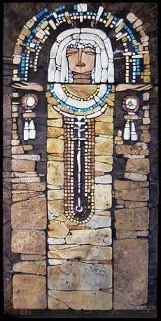 радуга  рельефная мозаика. камень, смальта, бисер. 400х800 Москва 2005