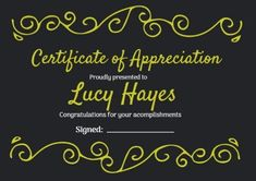 A Funky Bright Yellow and Black certificate of appreciation which can be easily edited in just a few minutes! Certificate Of Appreciation, Bright Yellow, Congratulations, Black, Black People