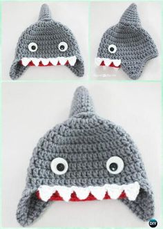 Crochet Shark Earflap Hat Free Pattern Instructions-DIY Crochet Ear Flap Hat Free Patterns