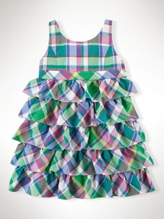 Tiered+Madras+Dress