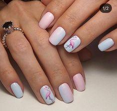 flamingo nail art ideas 00011 in 2020 Cute Acrylic Nails, Cute Nails, Pretty Nails, Pink Manicure, Bling Nails, Art Tropical, California Nails, Flamingo Nails, Dream Nails