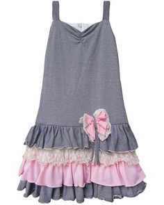 Isobella and Chloe Gray Pink BLISSFUL BREEZE Drop Waist Dress Girls 7-14 ~ Color Me Happy Boutique