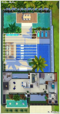 Sims 4 Modern House, Sims 2 House, Sims 4 House Plans, Sims 4 House Design, Casas The Sims Freeplay, Sims Freeplay Houses, Casas The Sims 3, Painting Minecraft, The Sims 4 Lots