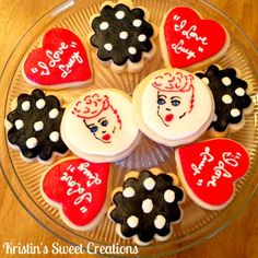 I Love Lucy cookies --- This would work for cupcakes TOOO!