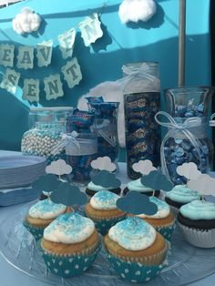 Heaven sent baby shower cup cakes With clouds DIY made Blue and white