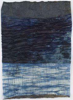 "cavinmorrisgallery: "" Yuko Kimura Indigo Shiwa Shiwa (Wrinkle Wrinkle), 2016 Etching, indigo dye, persimmon juice on kozo handmade paper 7 x 5 inches 17.8 x 12.7 cm YuK 41 http://www.cavinmorris.com """
