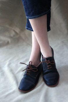Black and Brown Chaplin Shoes - Leather Women's Oxfords -