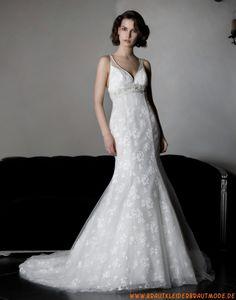 2013 Sexy rückenfreie Brautkleider aus Organza und Satin A-Linie elegante Brautmode mit Applikation