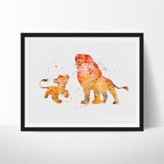 Simba and Mufasa Print Lion King Disney by VIVIDEDITIONS on Etsy