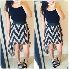 "Bundled☀️Chevron Print High Low Skirt Sz small. Small snag in back, hardly noticeable when worn. I'm 5'4 for reference. Clean, Smoke Free Home.  All Sales Final.  Fast Ship! Thanks! Check out my other items!                                                ✨✨✨✨✨15% off bundles✨✨✨✨  **No trades or holds plz** **will not reply to ""lowest""** Skirts High Low"
