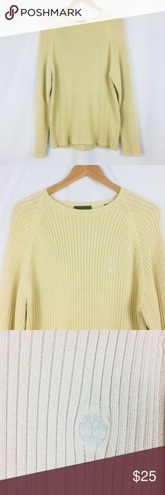 Timberland Beige Knit Ribbed Crew Neck Sweater Beige cable knit sweater Size L (tag missing) 100% cotton Chest 22.5 in Length 27 in Sleeve 30.5 in  Reasonable offers considered. Smoke free and pet free home. The colors in the picture may be slightly different from the actual item. Thank you for shopping my closet.  070-0129 Timberland Sweaters Crewneck