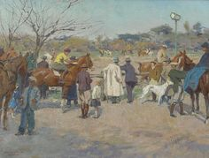Hendrik Jan 'Henk' Wolter (1873-1952) Horseraces on the Galoppatoio, Villa Borghese, Rome, oil on canvas 33.7 x 44.6 cm., signed l.r. and painted ca. 1938-1940. Collection Simonis & Buunk, The Netherlands.