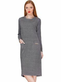 #AdoreWe #StyleWe Adelin Fostayn Gray Melange Crew Neck Simple Pockets Midi Dress - AdoreWe.com