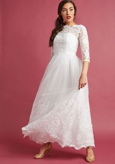 Chi Chi London Sophisticated Ceremony Maxi Dress in White in 8 - by Chi Chi London from ModCloth