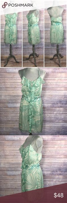 {Milly} Mint Floral Hibiscus Ruffle Dress Cross-cross back strap; left side zip-up closure; lined; Shell: 100% silk/ Lining: 100% polyester; Condition: Excellent with snag on back and small rip at zipper area (see pictures). Priced due to flaws. Milly Dresses Mini