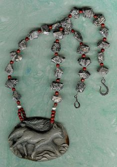 The Silver Fox  OOAK Carved Succor Creek Jasper Gemstone Fox