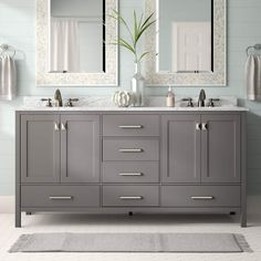Add contemporary cool to your master bath with this Newtown 72 Double Bathroom Vanity Set. Founded atop a solid and manufactured wood base, and two white ceramic under-mount sinks. Six faucet holes… Double Sink Bathroom, Single Bathroom Vanity, Double Sink Vanity, Master Bath Vanity, Minimal Bathroom, Double Sinks, Gray Vanity, Vanity Set, Vanity Ideas