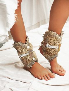 Gold Ordon Dans Ziel Ankle Cuffs at Free People Clothing Boutique Gypsy Style, Boho Gypsy, Bohemian Style, Boho Chic, Ibiza Style, Bohemian Shoes, Bohemian Accessories, Boho Sandals, Hippie Chic