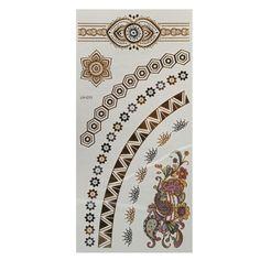 Cadena de flor de plata metálica de oro tatuajes temporales pegatina arte corporal