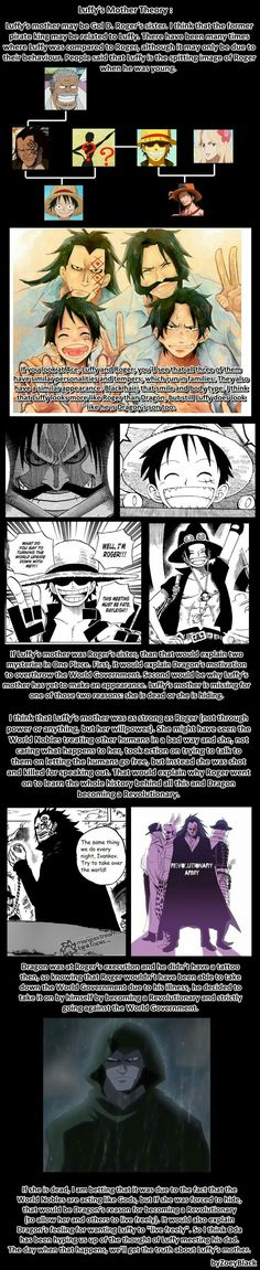 Luffy's Mother Theory, text, Ace, Luffy, Garp, Roger, Rouge, Dragon, D family; One Piece