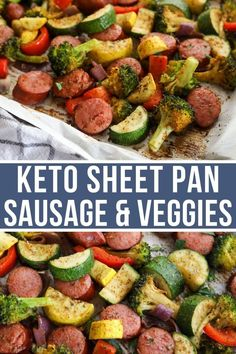 This Keto Sheet Pan Sausage and Veggies is sure to be a family favorite. With tasty smoked sausage and tender roasted vegetables, this one-pan low carb meal is easy to make and delicious. meals to take to someone Keto Sheet Pan Sausage and Vegetables Health Dinner, Keto Dinner, Easy Dinner Meals Healthy, Easy Veggie Meals, Low Carb Dinner Ideas, Vegetable Meals, Keto Lunch Ideas, Tasty Meals, Healthy Meal Prep