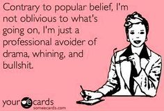 """Professional avoider of drama, whining and bullshit"" quote via www.Facebook.com/WildWickedWomen"