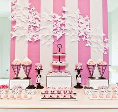 Beautiful 3d butterfly backdrop centerpiece for bridal or baby shower, or little girls birthday slumber / sleepover party! Pink stripes and white butterflies with black contrast accent decorations