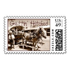 Gettin' Hitched Country Wedding Postage Stamps